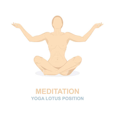 Woman in yoga pose isolated on white background. Meditation concept vector illustration. Yoga lotus position.