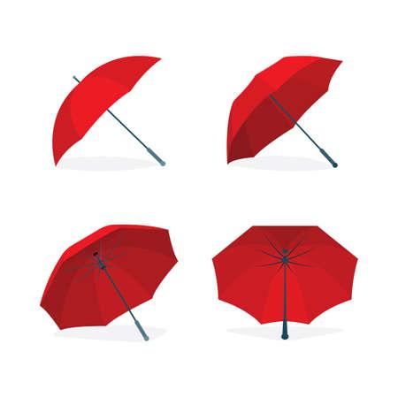 Umbrellas vector illustrations set. Rain protect concept.