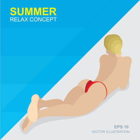 Tanned female in red bathing suit in pool. Summer relax concept vector illustration. Summer holidays.