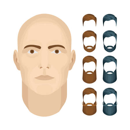 Man face vector illustrations set. Male character face constructor. Man face with different beard styles isolated on white background.