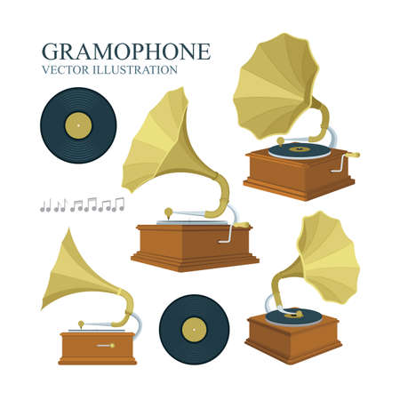 Vintage gramophone and vinyl records illustrations set. Realistic flat style gramophone and vinyl records icons. Old gramophones in different views isolated on white background. Retro music concept. Reklamní fotografie - 151140864