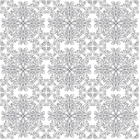 Vintage seamless pattern. Hand drawn baroque victorian ornaments endless texture. Floral ornament design. Engraved style ornament drawing. Part of set. Ilustrace