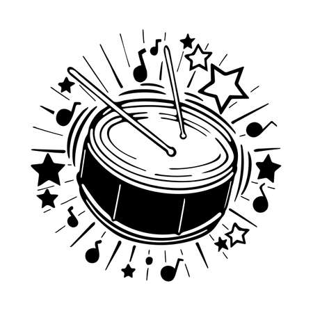 Drum Drum hand drawn sketch vector illustration. Part of set. Ilustração