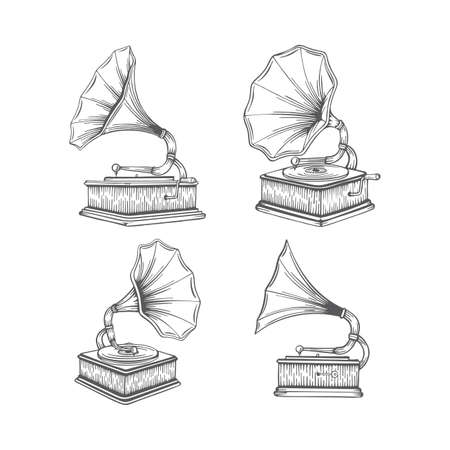 Vintage gramophone hand drawn illustrations set. Old gramophones in different views isolated on white background. Retro music concept. Gramophones sketch.