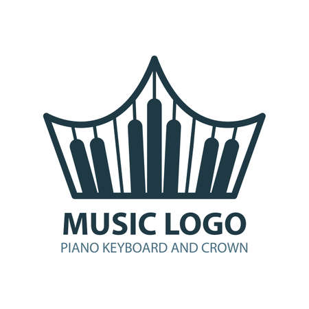 Musical logo. Piano keyboard emblem. Crown with piano keyboard vector illustration. Part of set. Ilustração