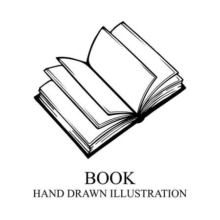 Book Hand drawn open book illustration. Book sketch drawing. Part of set.