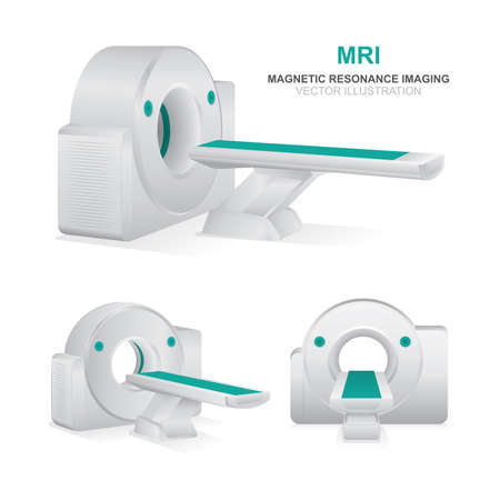 Magnetic resonance imaging devices set. MRI scanner vector illustrations isolated on white background. MRI diagnostics realistic icons set. Ilustración de vector
