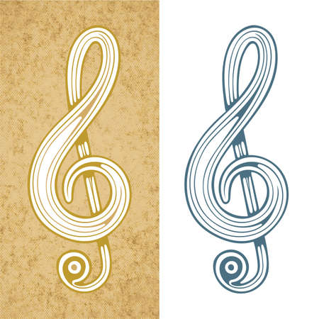 Music key. Musical key hand drawn vector illustration. Music key vintage style sketch drawing. Part of set.