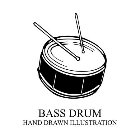 Drum Live music concert hand drawn vector illustration. Part of set.
