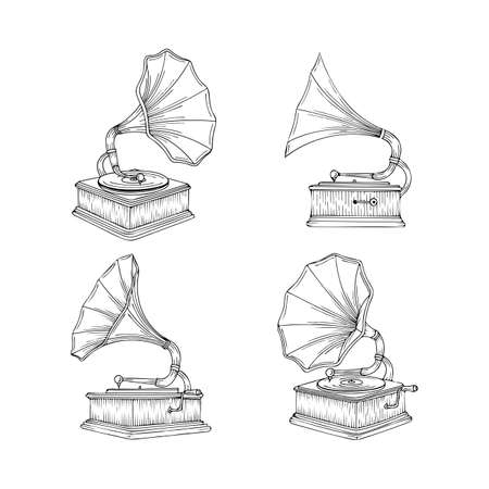 Vintage gramophone hand drawn illustrations set. Old gramophones in different views isolated on white background. Retro music concept. Gramophones sketch. Ilustrace
