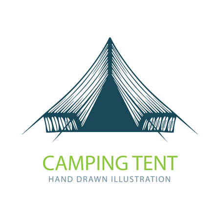 Tent. Touristic camping tent hand drawn vector illustration. Part of set.