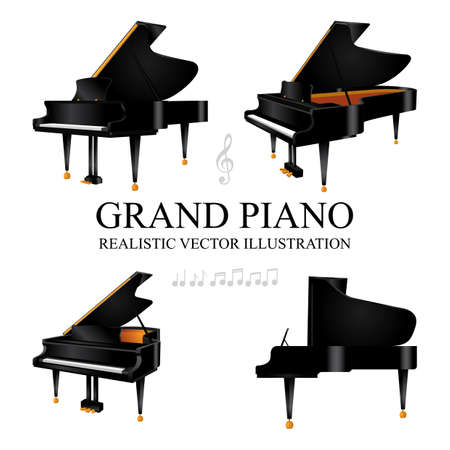 Grand piano. Grand piano realistic vector illustrations set. Grand pianos in different view angle. Music key and notes. Classical music concept. Ilustrace