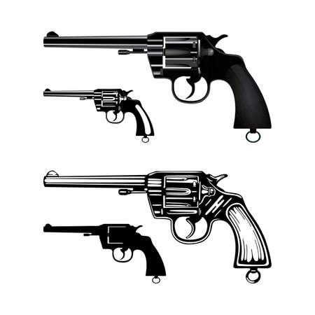 Revolver Hand drawn vintage revolver vector illustration. Engraving and realistic style old pistols set.