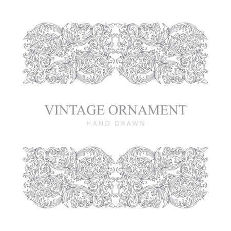 Floral ornaments set. Vintage baroque victorian ornaments. Hand drawn retro style floral scrolls illustration. Part of set.
