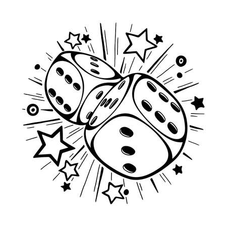 Dice gambling vector template concept. Dice hand drawn illustration. Game dice in flight. Casino gambling. Ilustrace