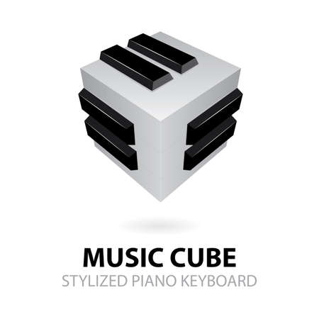 Music Piano keyboard. Music cube isometric vector illustration. Music abstract logo. Part of set.