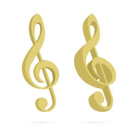 Music key. Musical keys isometric vector illustration. Part of set. Ilustrace