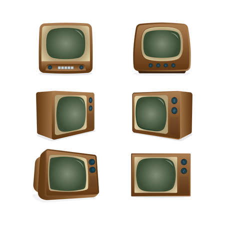 Old TV. Retro television receiver realistic vector illustrations set. Part of set. Illusztráció