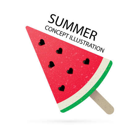 Watermelon Watermelon slice vector illustration. Watermelon candy lollipop. Summer sweet concept. Part of set.