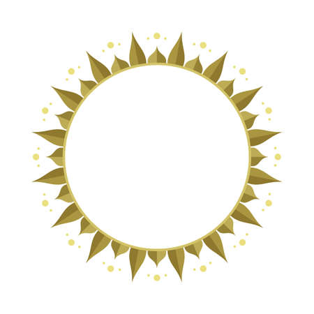 Sun. Vintage style hand drawn round frame. Abstract flower sketch illustration. Part of set.