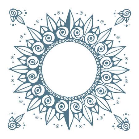 Sun. Vintage style round frame. Abstract flower illustration. Part of set.