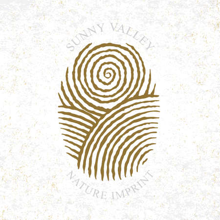 Sunny Valley logotype in fingerprint style. Sunny valley hand drawn illustration. Nature, meadows, sun and sky.  イラスト・ベクター素材