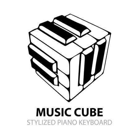 Piano keyboard hand drawn illustration. Music cube sketch drawing isometric vector graphic. Music abstract logo. Part of set. Ilustrace
