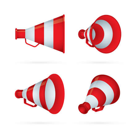 Vintage megaphone. Retro megaphone realistic illustrations set. Loudspeakers vector symbols. Part of set.