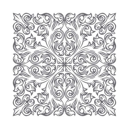 Vintage baroque victorian ornament. Hand drawn retro style floral scroll ornament. Part of set.
