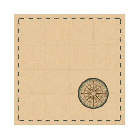 Map and wind rose symbol. Vintage style map and compass vector illustration. Part of set.
