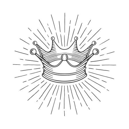 Crown Crown vintage style hand drawn vector illustration. Part of set. Ilustrace