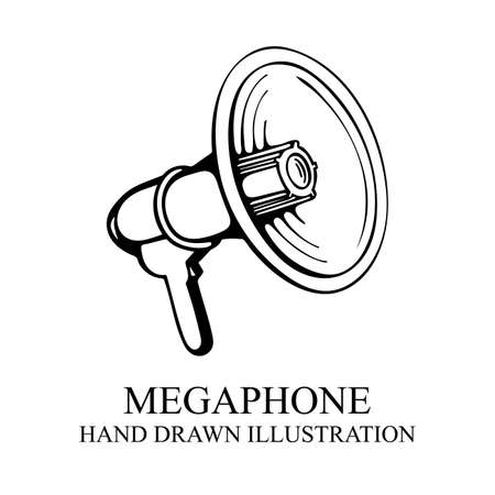 Megaphone. Megaphone realistic hand drawn vector illustration. Loudspeaker vector sketch symbols. Part of set.