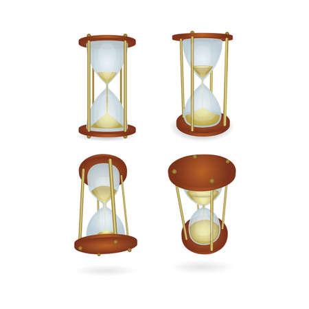 Hourglass. Realistic hourglass illustrations set. Hourglass vector icons. Part of set. Ilustração Vetorial