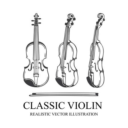 Violin. Classic Violin and bow hand drawn vector illustration. Orchestra violin sketch. Vintage musical instrument drawing. Part of set.