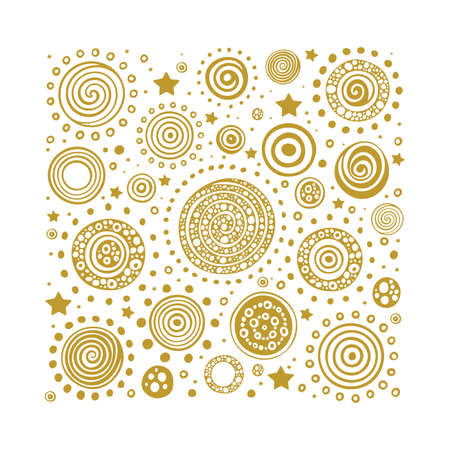 Sun. Hand drawn sun vector illustrations background. Abstract sun, planets and stars sketch drawing pattern. Part of set.