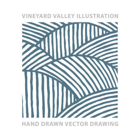 Valley. Vineyard and sunny valley hand drawn illustration. Nature and meadows. Vineyard woodcut style sketch drawing. Landscape abstract background.