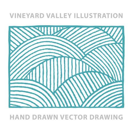 Vineyard. Sunny valley. Vineyard abstract hand drawn vector illustration. Part of set.