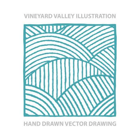 Vineyard. Sunny valley. Vineyard abstract hand drawn vector illustration. Part of set. Vektorgrafik