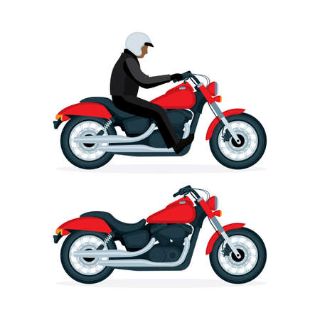 Motorcycle vector realistic and hand drawn illustrations set. Motorbike on a white background. Vintage chopper motorcycle.
