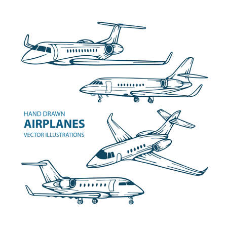 Airplane Airplanes hand drawn vector illustrations set.