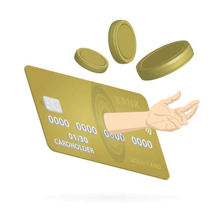 Human hand, credit card and flying coins. Credit line concept. Funding requirement concept. Part of set.