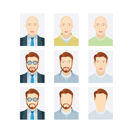 Male portraits set. Male ID and passport picture. User profile photo. Man avatar symbols collection. Part of set. Illustration