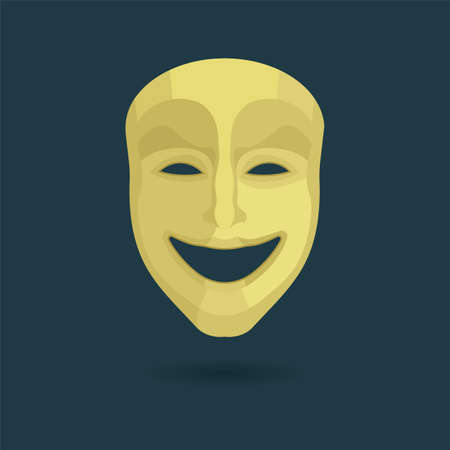 Theatrical mask. Comedy mask illustration. Part of set.