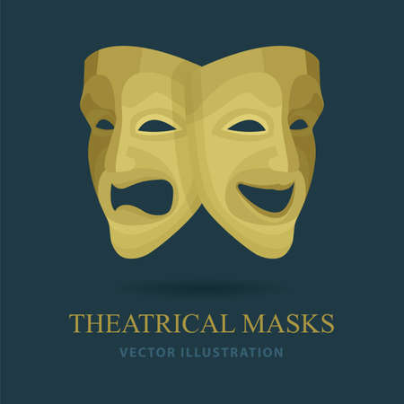 Masks. Theatrical masks. Comedy and tragedy masks vector illustrations set.