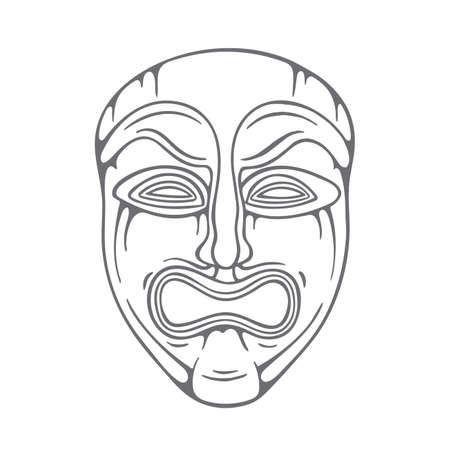 Theatrical mask. Tragedy mask hand drawn illustration. Sad mask sketch drawing. Part of set.