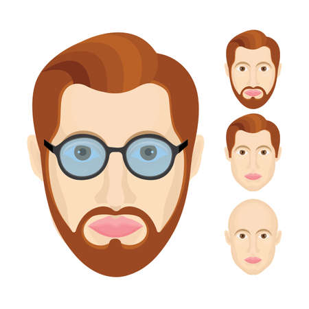 Male character portraits set. Male user profile sign. Man avatar symbols collection. Young guy head illustration with different hairstyles, glasses and beard. Part of set.