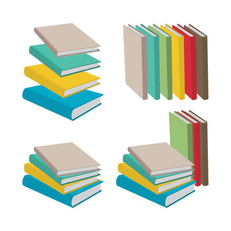 Book Flat style, isometric drawing books vector illustrations collection. Part of set.