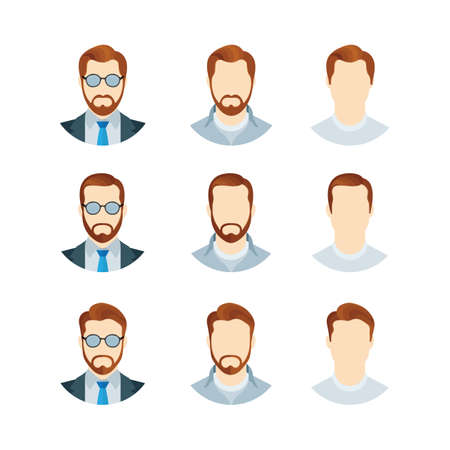 Male character portraits set. Male user profile photo. Man avatar symbols collection. Young guy head illustration with different hairstyles, glasses and beard. Part of set. Illustration