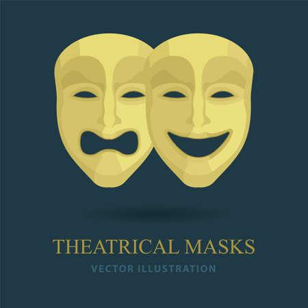 Masks. Theatrical masks. Comedy and tragedy masks vector illustrations set.