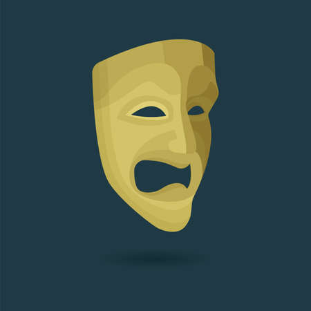 Theatrical mask. Tragedy mask illustration. Part of set. 일러스트